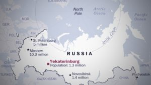 Yekaterinburg, Russia on a map