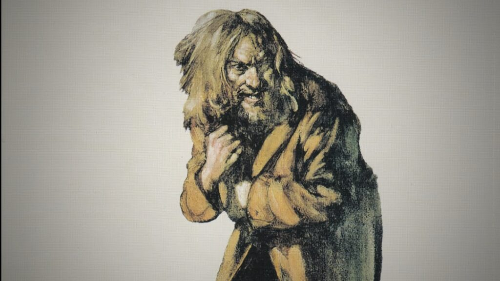 Burton Silverman's 'haggard figure' from the cover of Jethro Tull's Aqualung